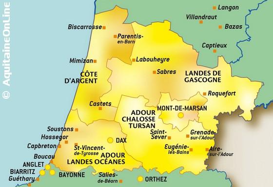 carte departement landes