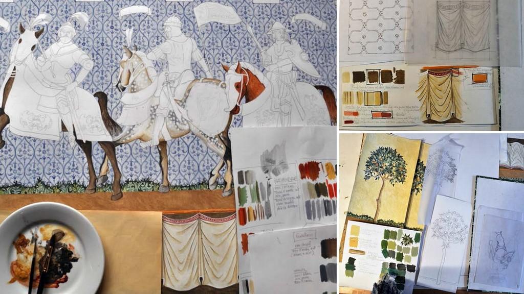Ch teau de castelnaud cr ation d 39 une peinture murale for Differents types de peinture murale
